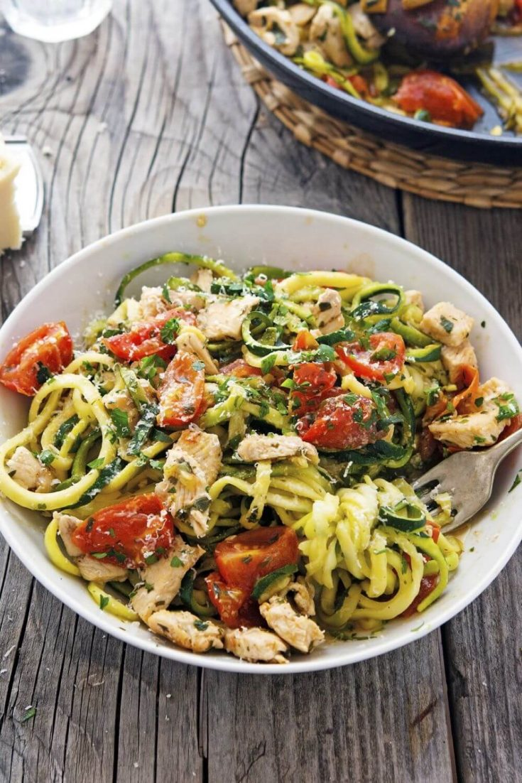 A large bowl of delicious lemon garlic chicken zoodles.