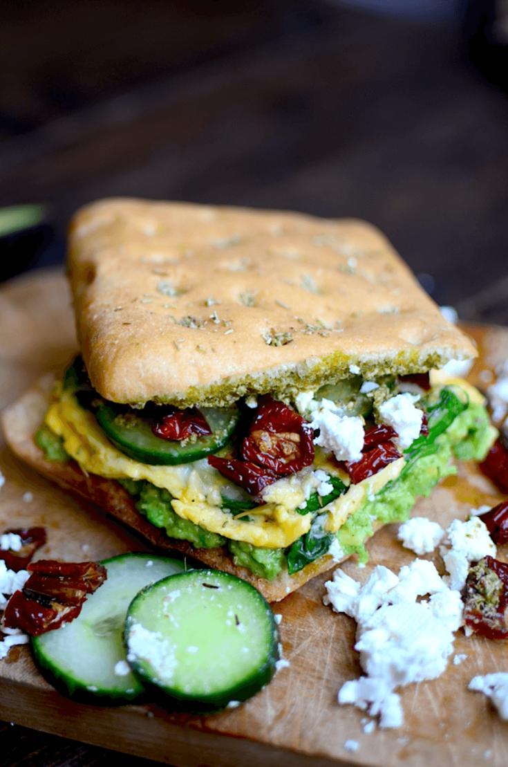 A loaded Mediterranean breakfast sandwich.