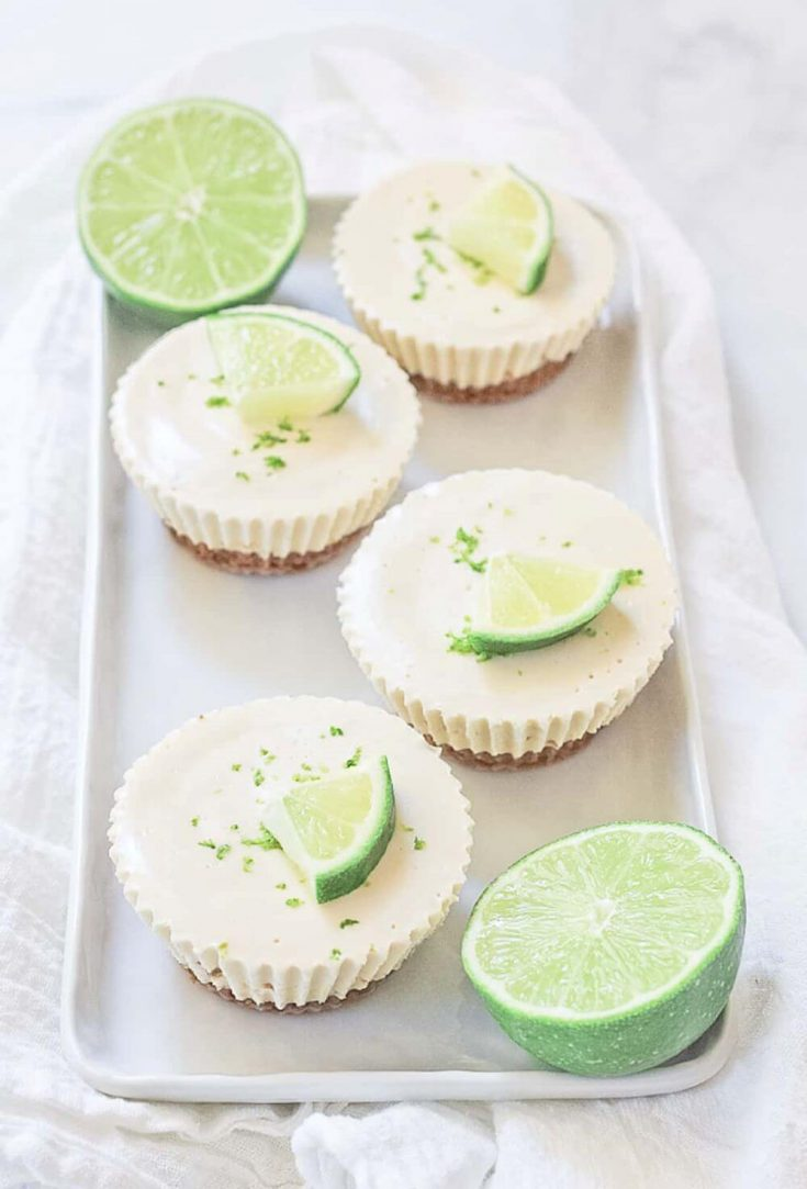A tray of delicious mini key lime pies.