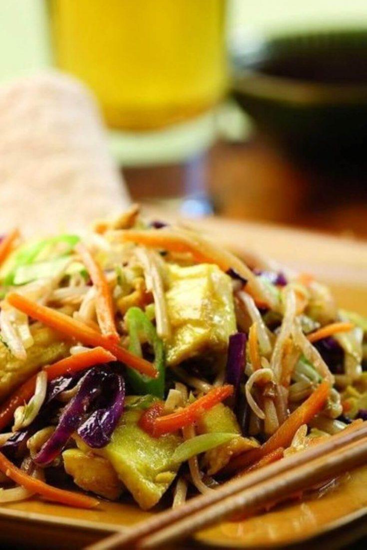 A closeup plate of moo shu vegetables.