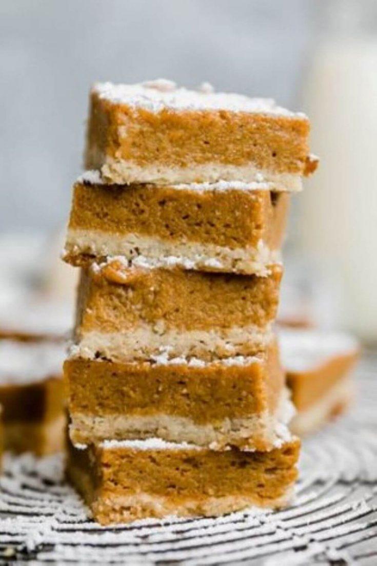 A stack of healthy paleo pumpkin pie bars.