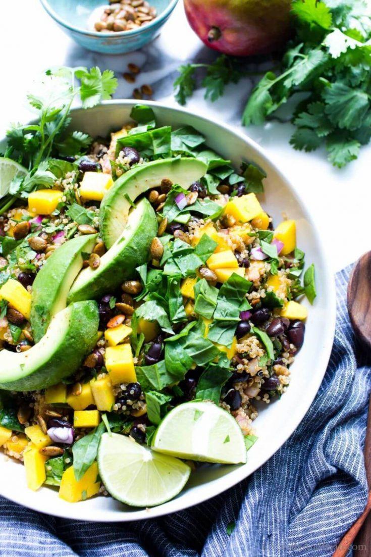 A delicious bowl of quinoa mango black bean salad.