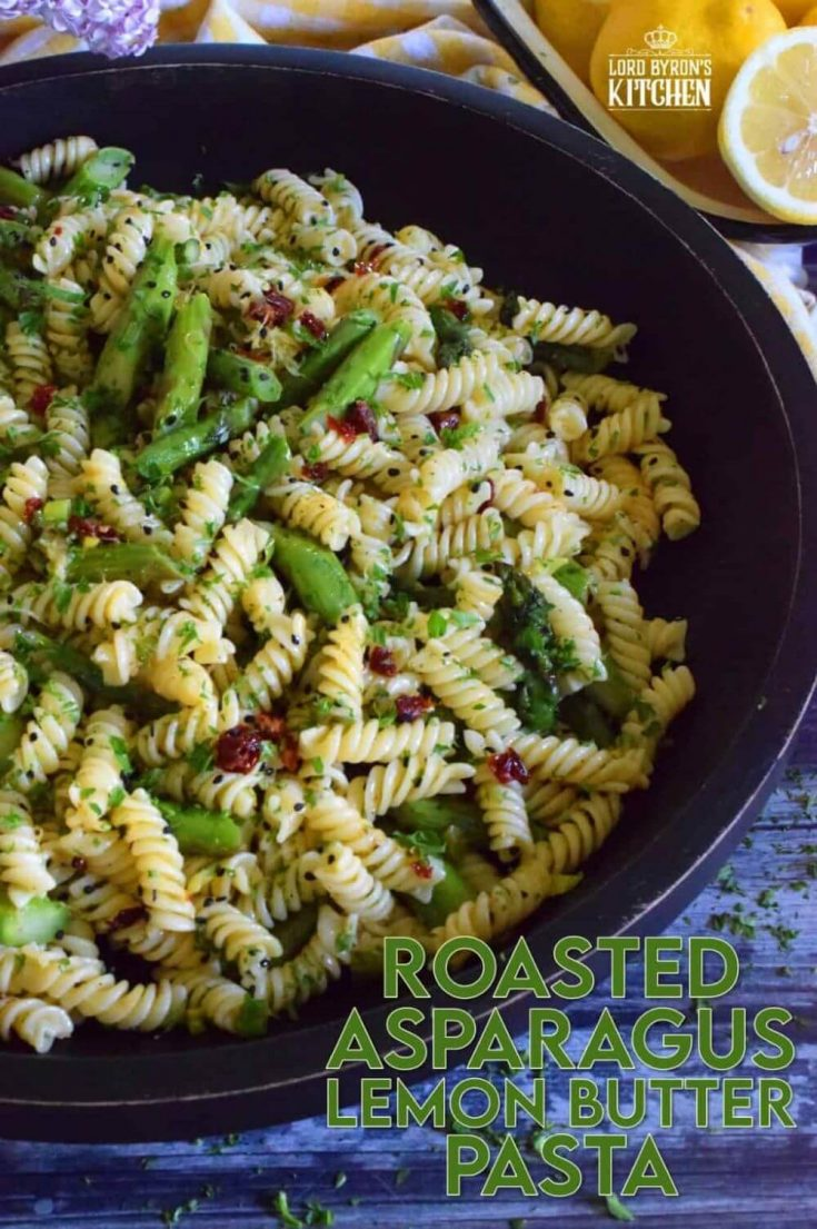 A large bowl of roasted asparagus lemon butter pasta salad.