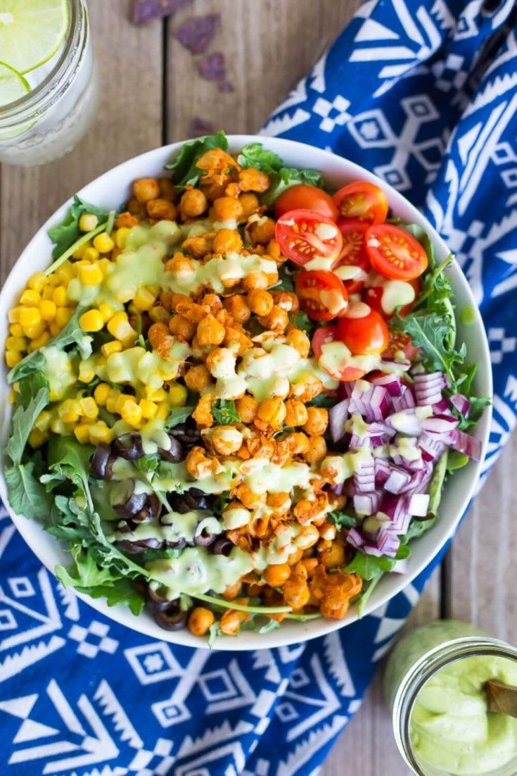 A large bowl of seasoned chickpea taco salad.