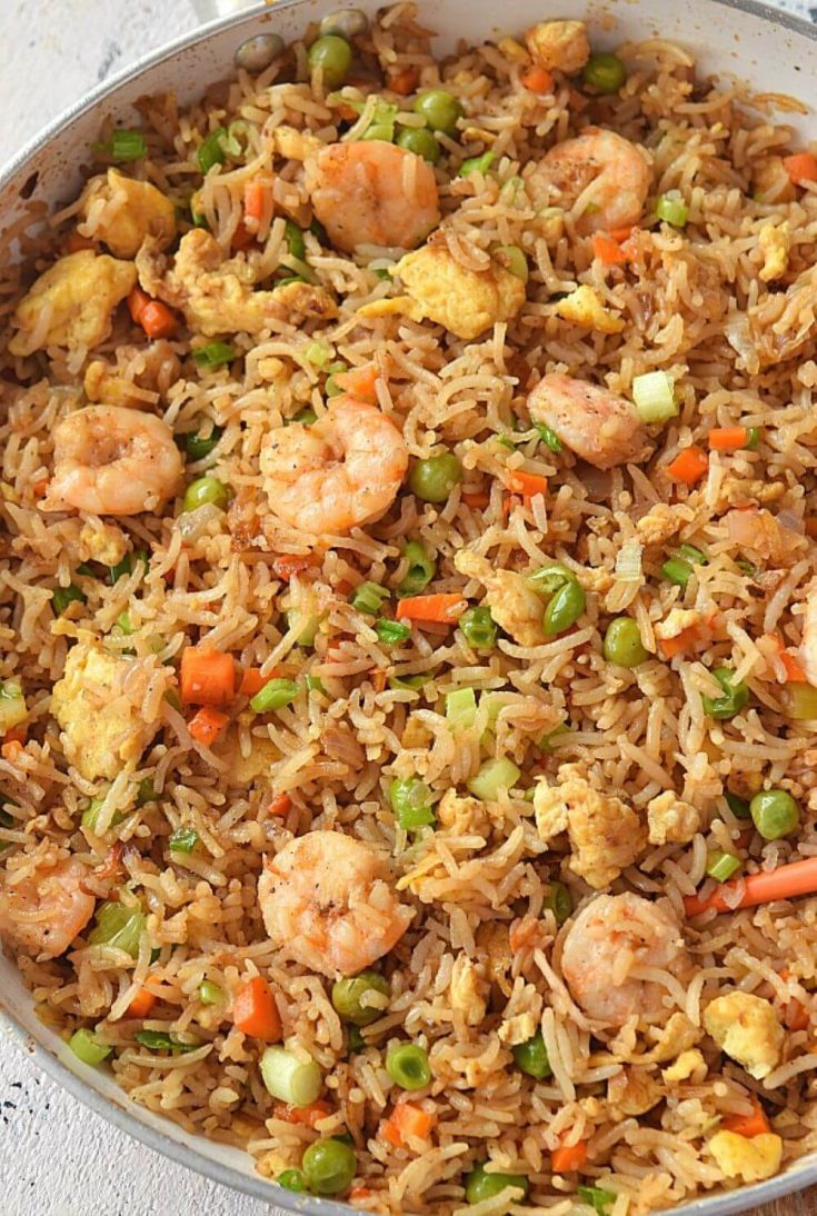 A delicious pan of shrimp fried rice.