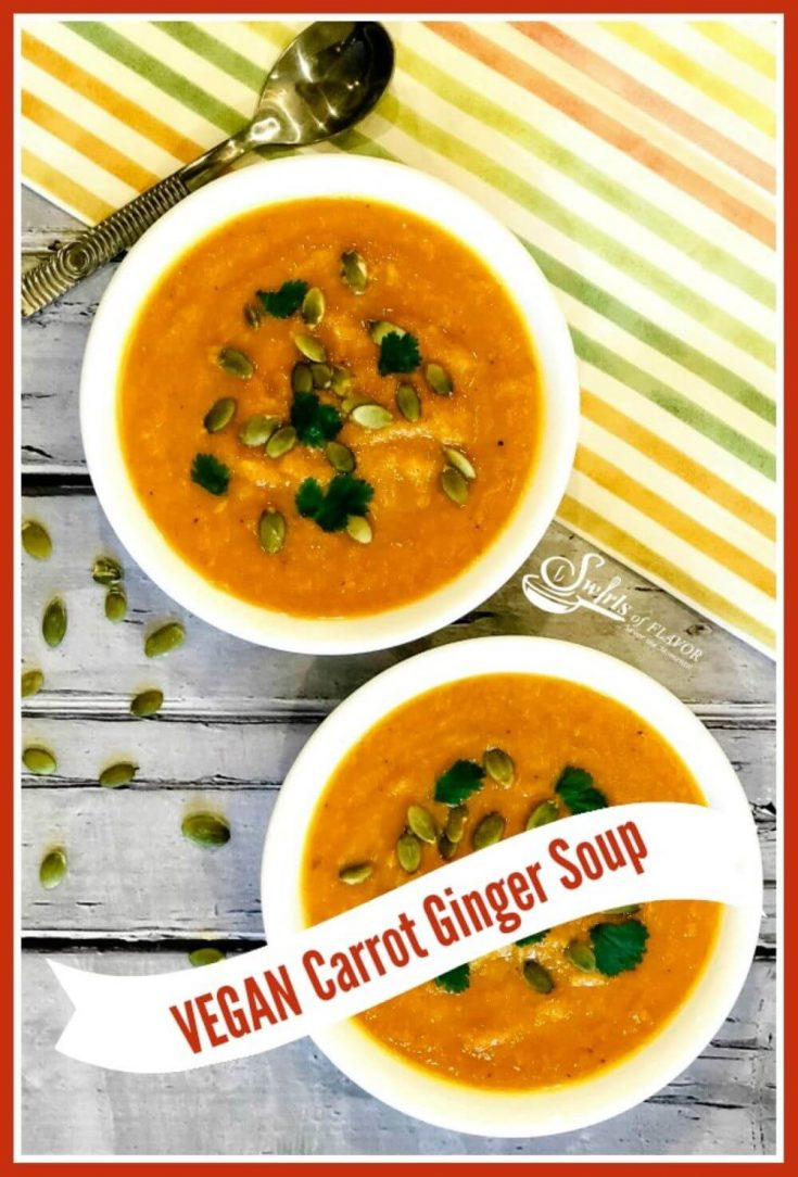 Two small bowls of slow cooker ginger carrot soup.