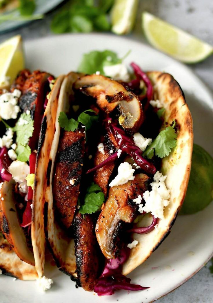 A delicious plate of smoky chipotle mushroom tacos.