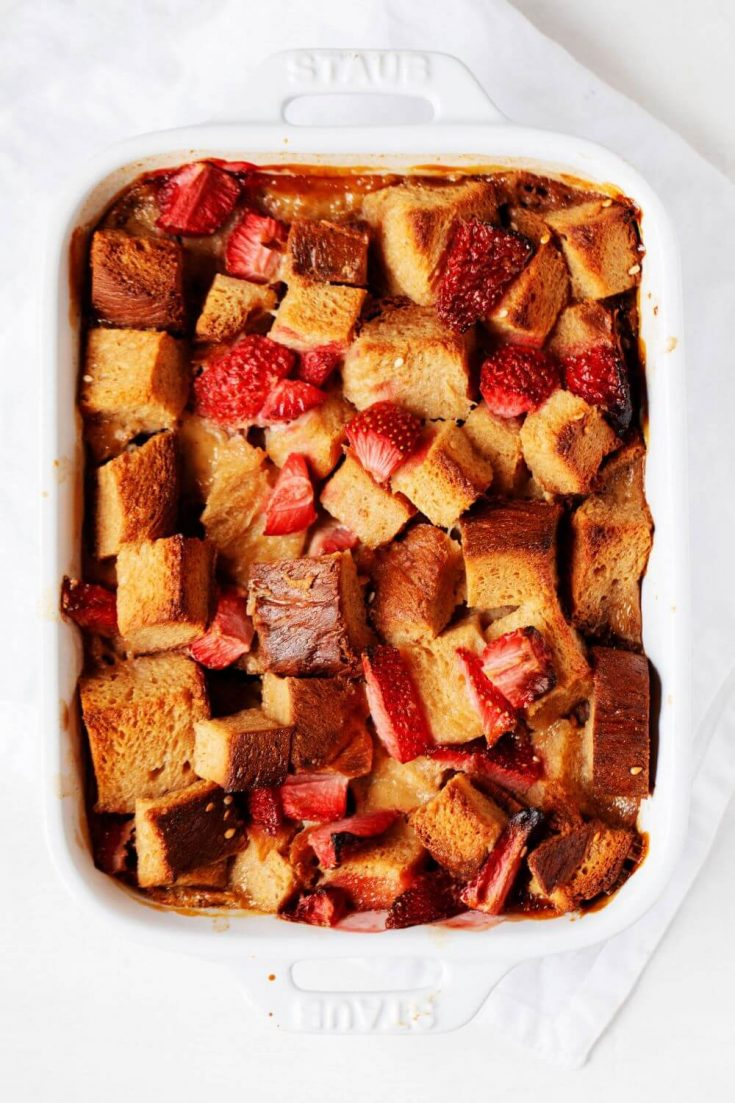A large baking dish of strawberry french toast casserole.