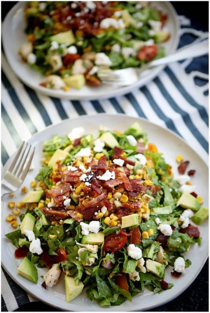 A delicious plate of summer BLT chopped salad.