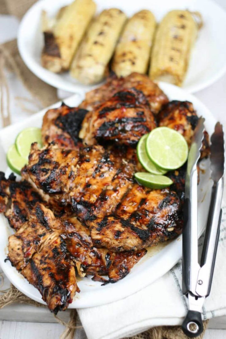 A plate of delicious sweet chili marinated grilled chicken.