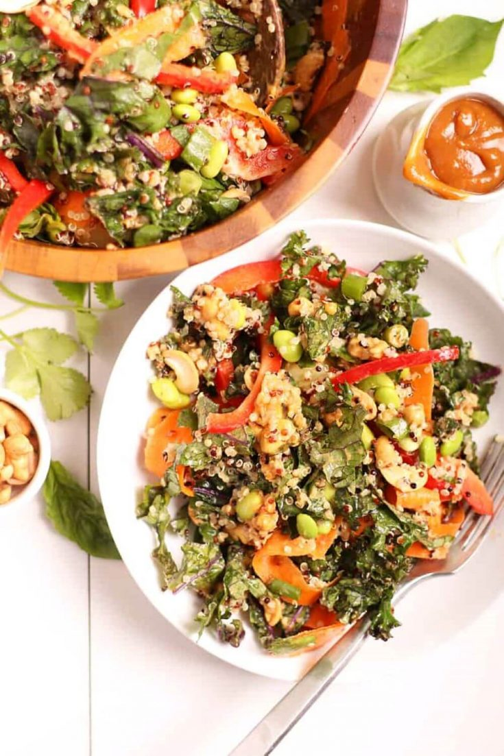 A lovely bowl of Thai cashew salad with peanut sauce.
