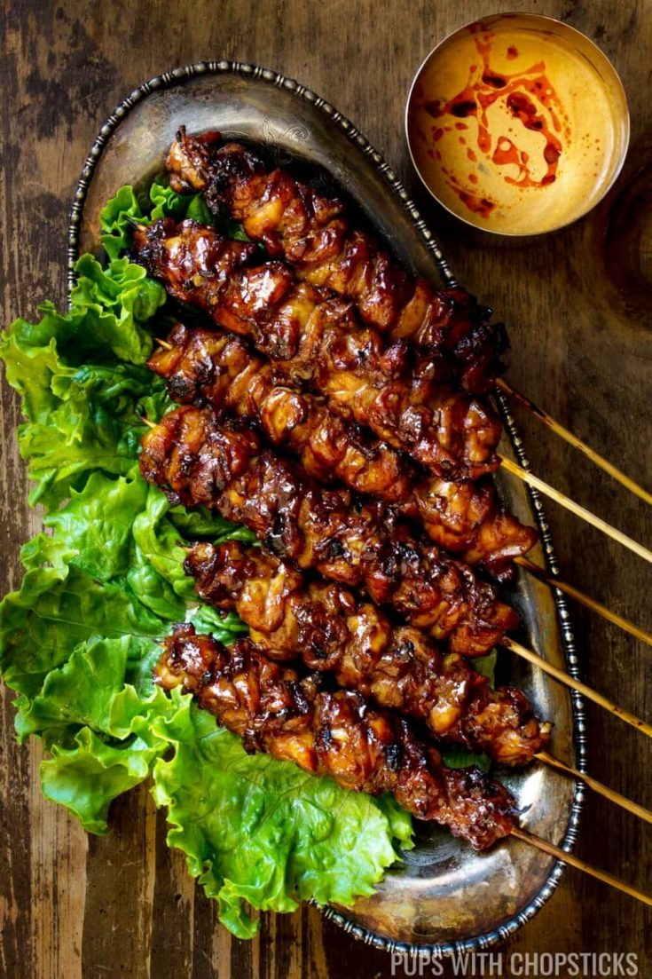 A plate of grilled Thai coconut chicken skewers.
