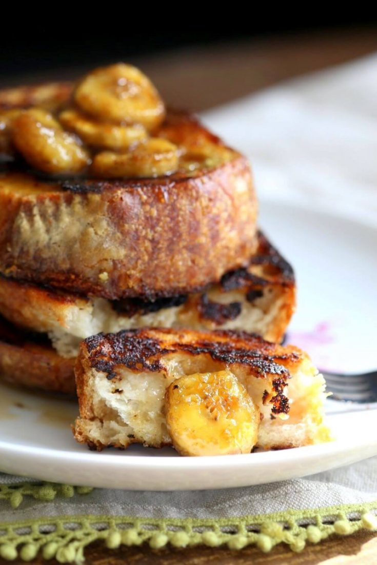 A stack of vegan banana french toast.