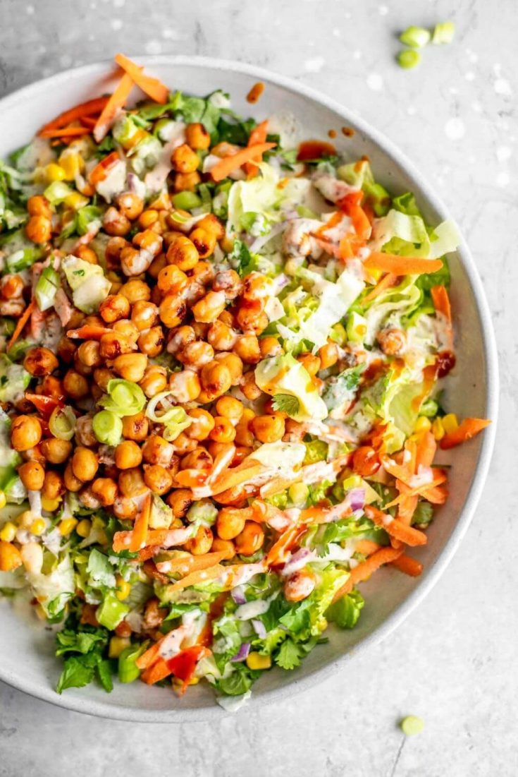 A delicious bowl of the high-protein vegan BBQ chickpea salad.