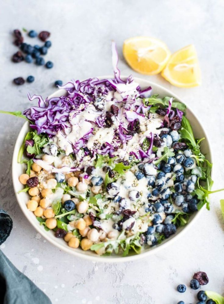 A lovely bowl of high-protein vegan chickpea blueberry salad.