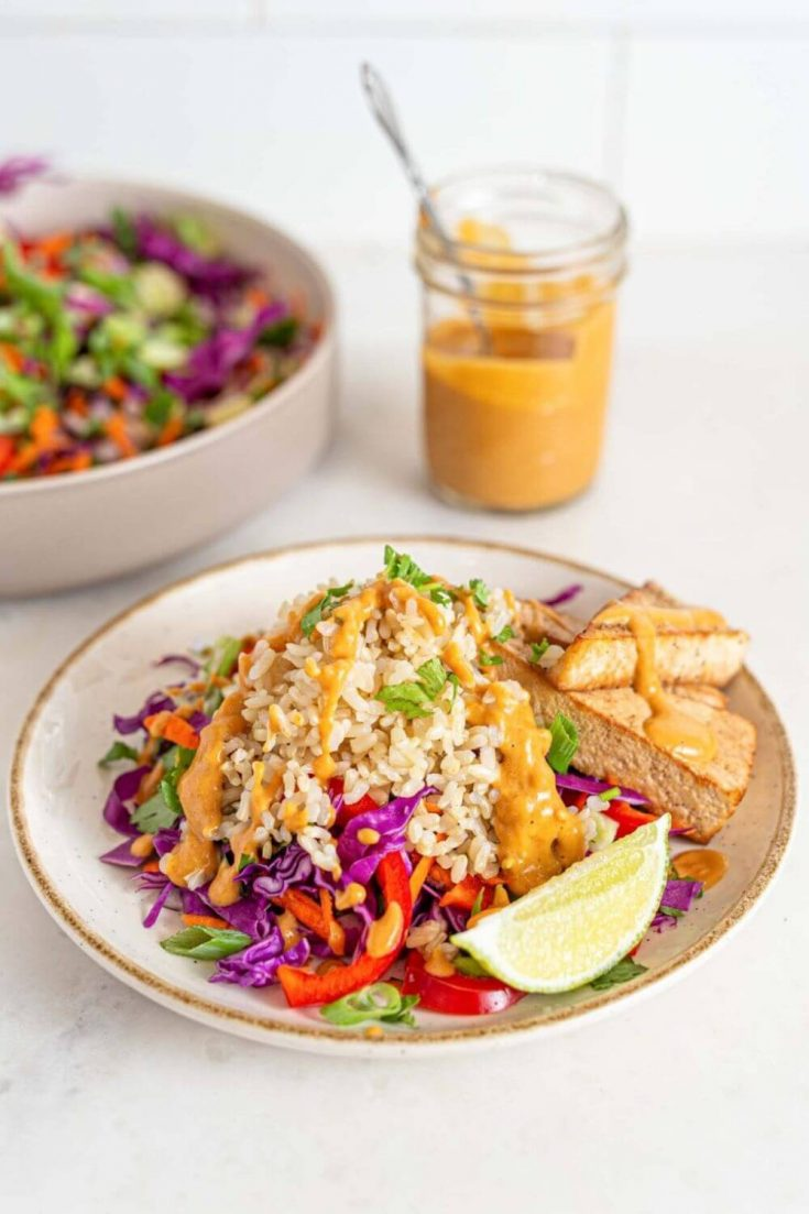 A plate of delicious vegan Thai chopped salad with tofu.
