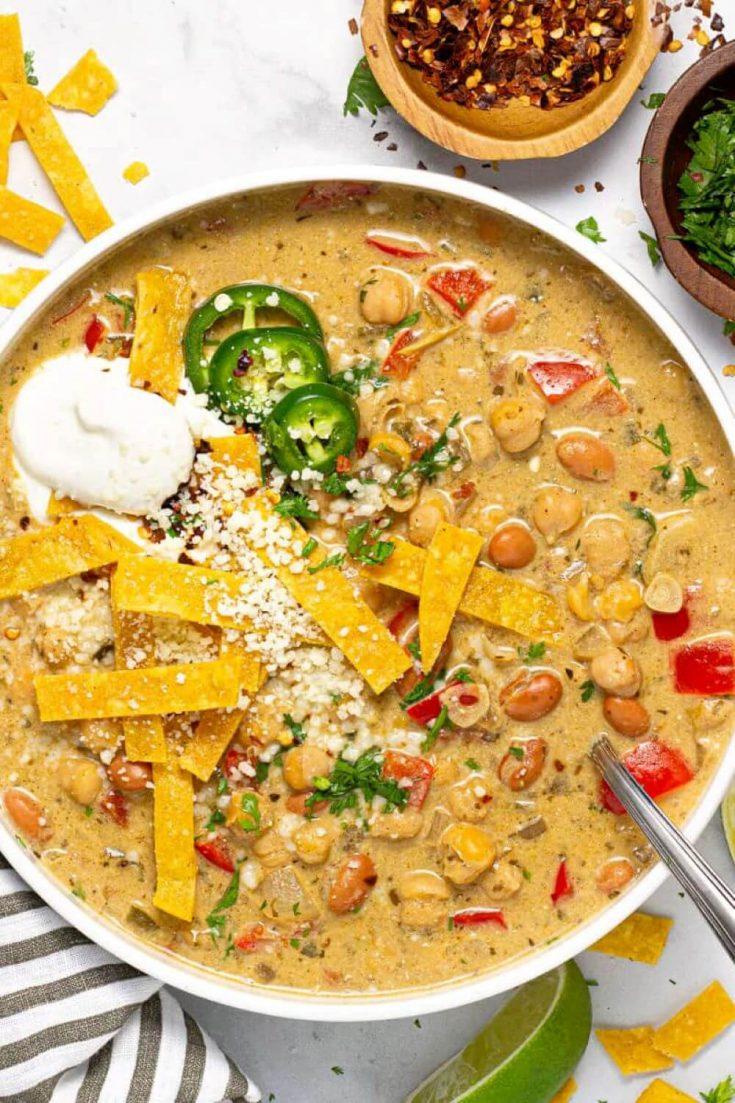 A closeup bowl of vegan white chickpea chili.