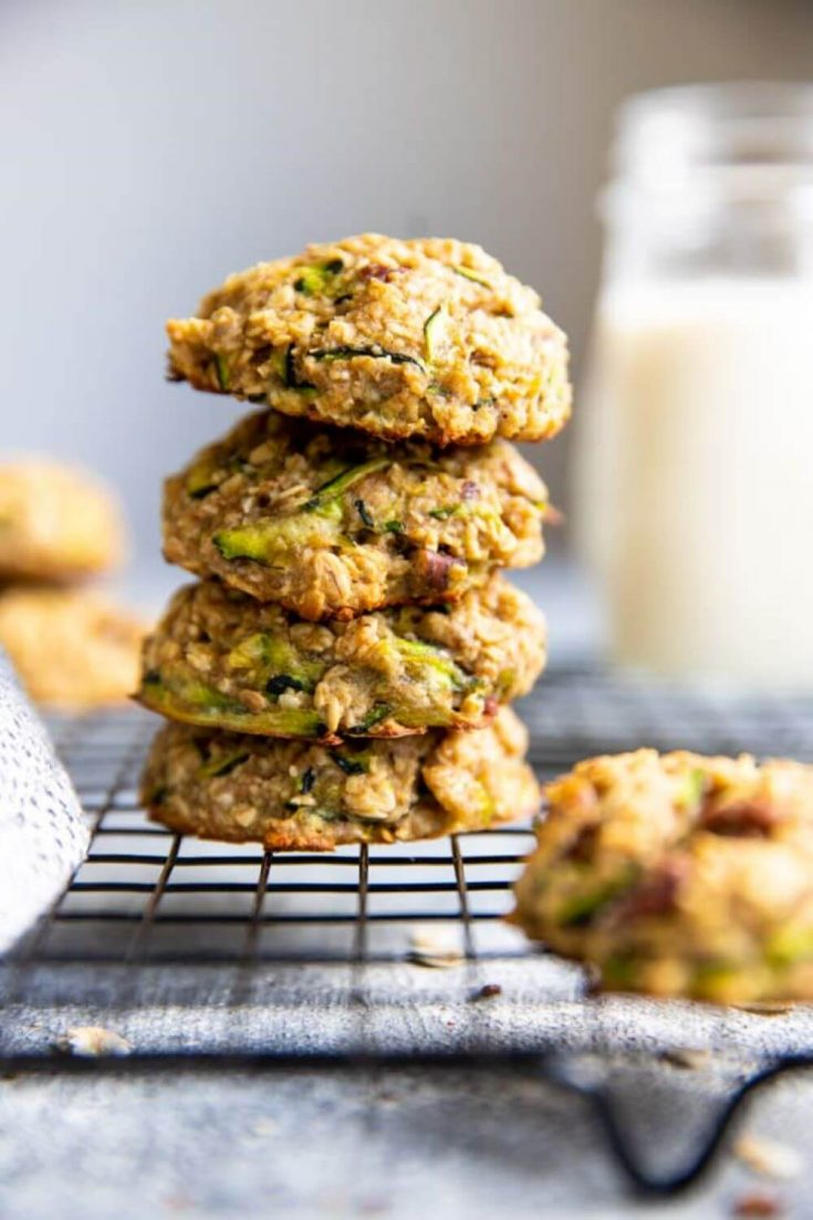 A stack of healthy zucchini oatmeal breakfast cookies.