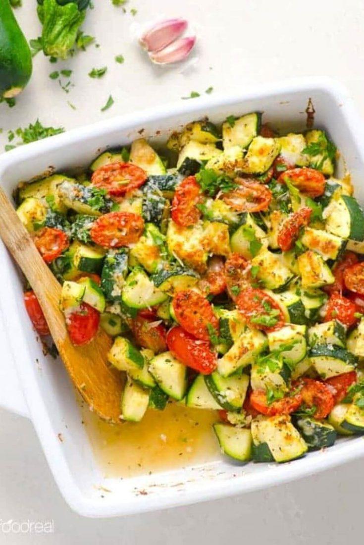 A large baking dish of healthy zucchini tomato bake.