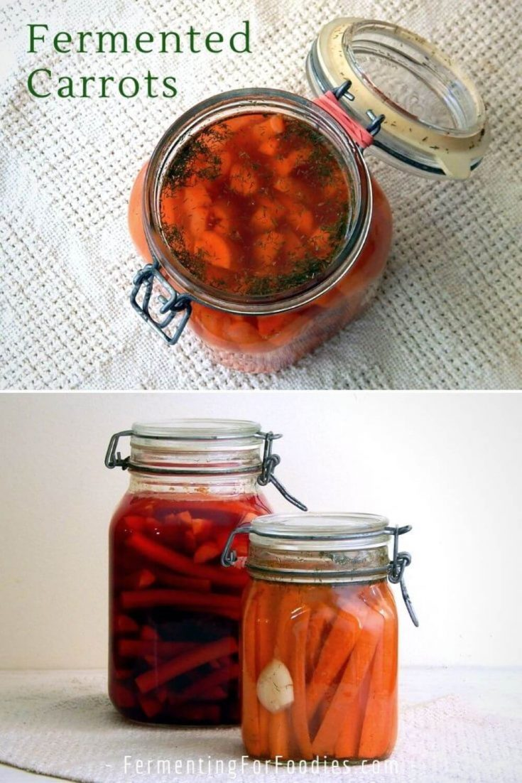 Several jars of differently flavored fermented carrot sticks.