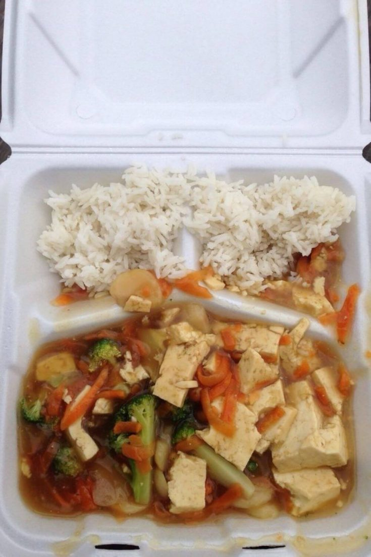 A takeout container of Sweet and Sour Tofu from the Rice Paddy in Marquette, Mi.