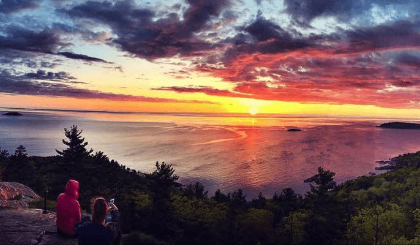 A view of the sunrise at the top of Sugarloaf Mountain in Marquette, Mi.