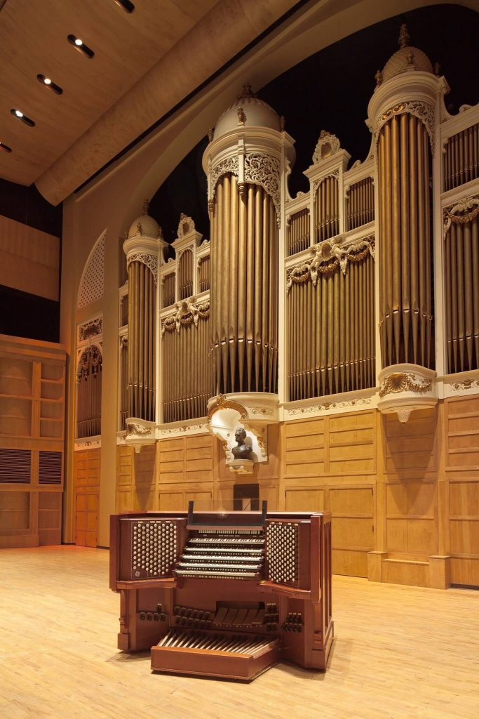 The Kotzschmar Organ and all its pipes in Portland, Maine.