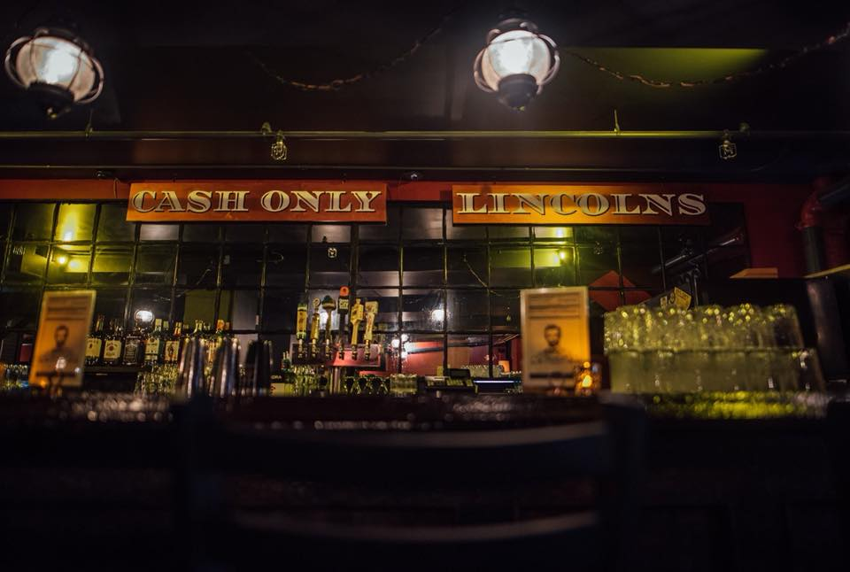 The bar at Lincoln's Speakeasy in downtown Portland, Maine.