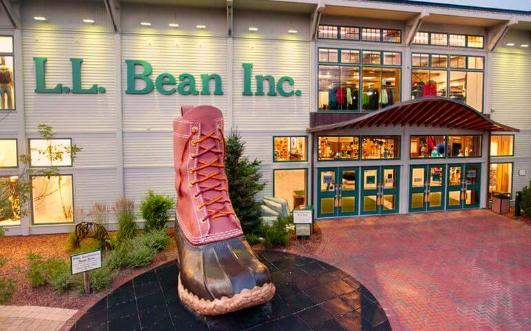 A giant winter boot in front of L.L. Bean's flagship store in Freeport, Maine.