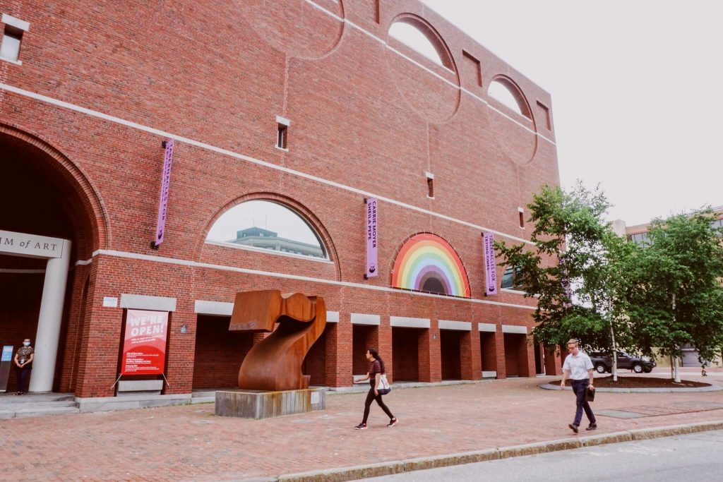 The front of the Portland Museum of Art's brick building.
