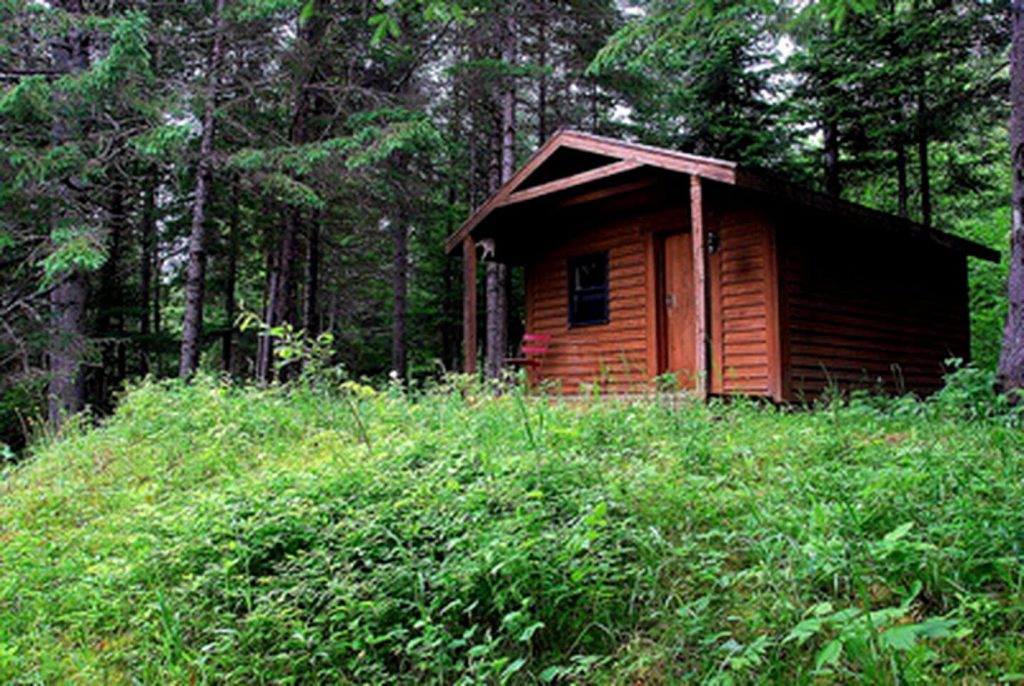 A log cabin rental in the woods of Maine.