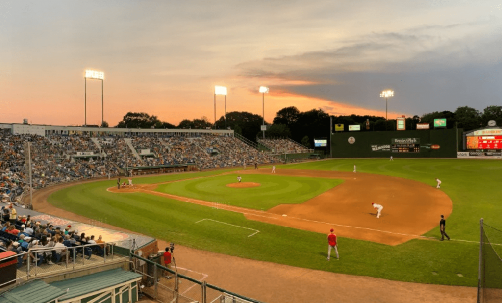 A packed Sea Dogs baseball game at Hadlock Field in Portland, Maine.